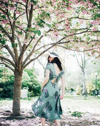 dress hat tumblr printed dress beautiful green dress midi dress sun hat open back open back dresses backless backless dress