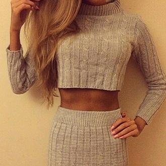 dress grey dress two-piece knitted dress