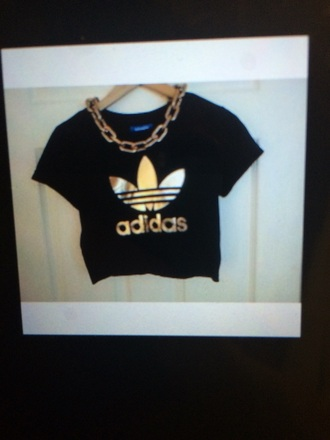 t-shirt gold black adidas crop tops