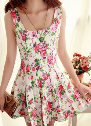 Cute floral nice show thin dress
