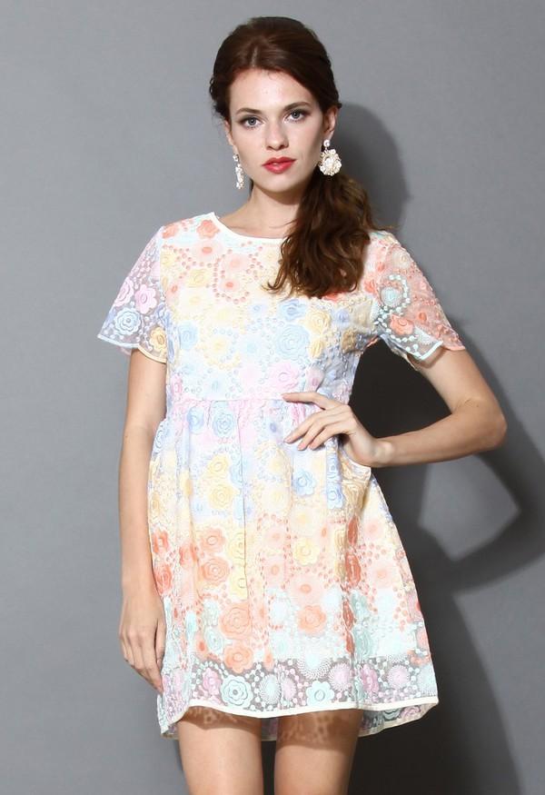 chicwish dreamy rainbow embroidered mesh dress