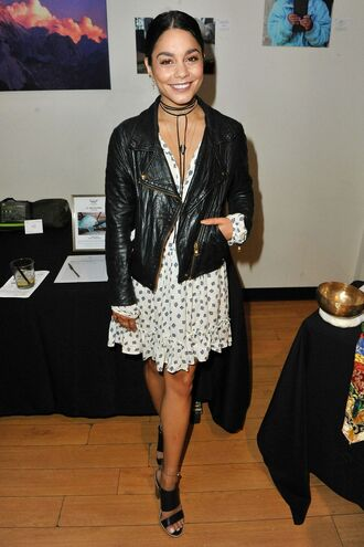 dress sandals jacket biker jacket vanessa hudgens spring outfits choker necklace necklace jewels jewelry black choker celebrity style celebrity celebstyle for less leather jacket mini dress white dress black heels sandal heels