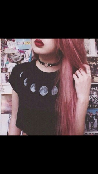 t-shirt black top black t-shirt moon grunge t-shirt grunge crop tops jewels