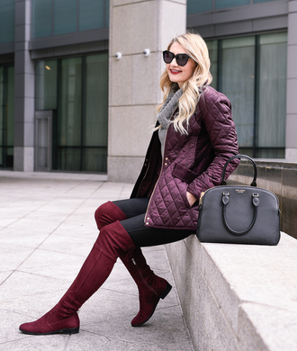 visions of vogue blogger jacket sweater leggings shoes sunglasses purple jacket handbag thigh high boots flat boots turtleneck sweater