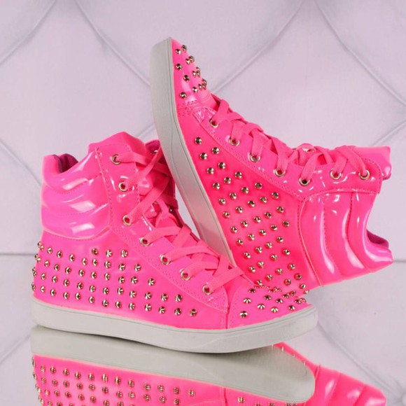 shoes pink shoes sneakers neon pink cool