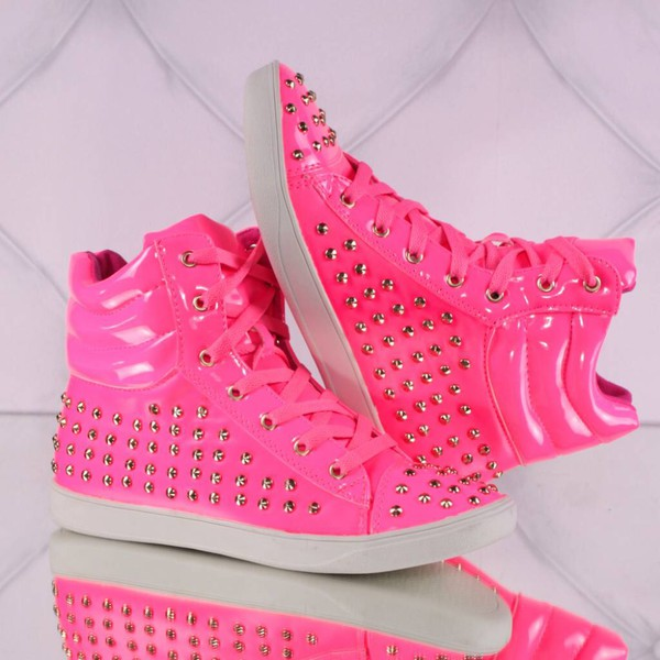 shoes pink shoes sneakers neon pink cool running shoes pink studded shoes studded sneakers