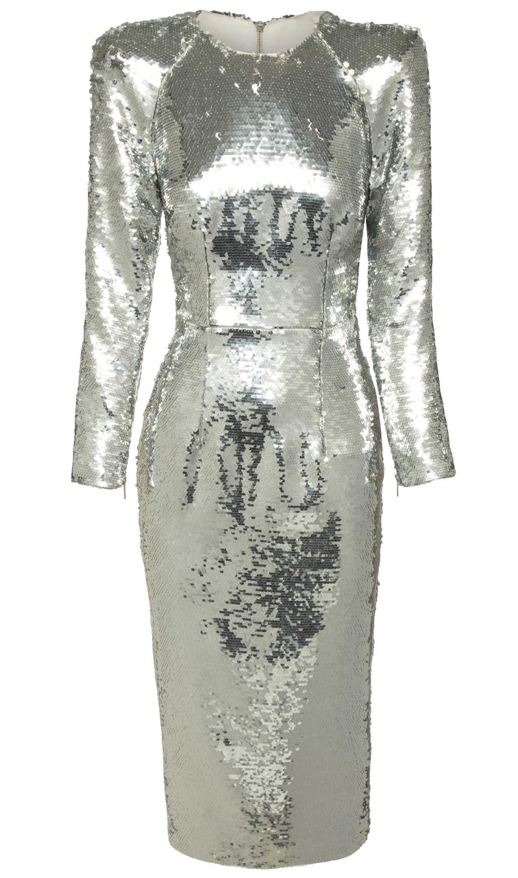 Long Sleeve Sequin Midi Dress Silver