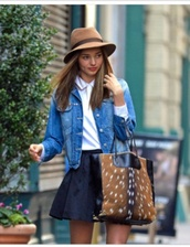 bag,shirt,skirt,jacket,miranda kerr,deer bag,fur,deer skin,deer,vintage,retro,cute,tumblr,celebrity,celebrity style,japanese,gorgeous,lovely,denim jacket
