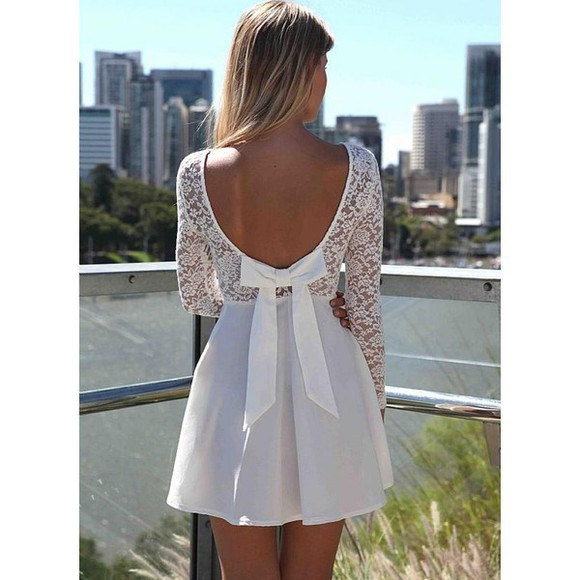 dress white lace dress lace dress backless dress skater dress