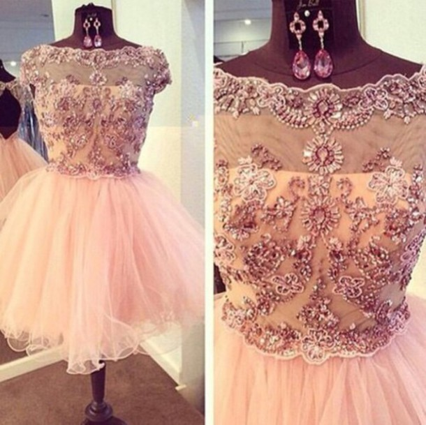 dress light pink jeweled dress xv dress pink dress tulle dress tulle skirt short dress party dress