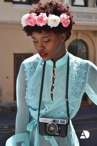 dress blue dress long sleeve dress ocean girly silk flower dress flowers turquoise hipster flower crown hipster wishlist