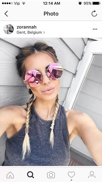 sunglasses pink celebrity round sunglasses mirrored sunglasses grey top