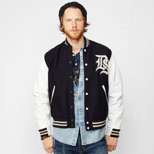 Leather-Sleeved Varsity Jacket