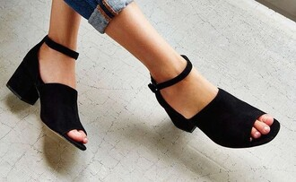 shoes sandals ankle strap heels mid heel sandals suede shoes black sandals black heels medium heels minimalist shoes minimalist block heel sandals jeans blue jeans