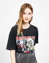 shirt,black,metal,iron maiden,black shirt,band merch