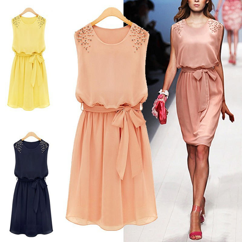 summer dress 2014 casual Chiffon clothing Bead Shoulder Bow Belt Sleeveless Pleated girl dress for summer wear vest women dress-in Dresses from Apparel & Accessories on Aliexpress.com
