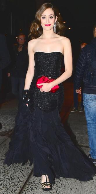 dress prom dress strapless bustier dress emmy rossum black dress