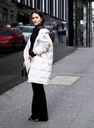 jacket black flared pants blogger black turtleneck top white puffer jacket