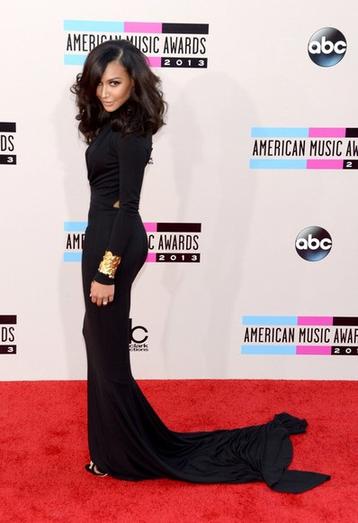 dress naya rivera black prom dress red carpet fall 2013