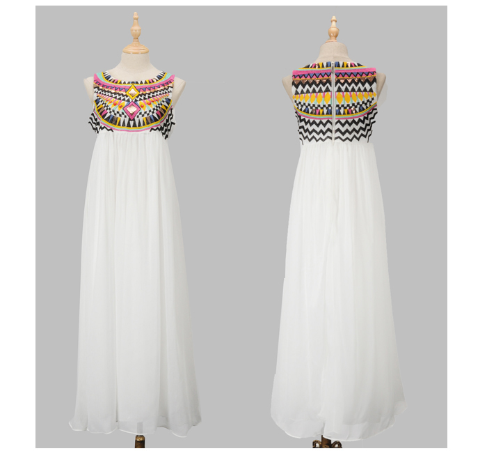 Womens Sleeveless Embroidery Sequins Maxi Long Dress Ebay