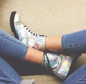 shoes,holographic,DrMartens,boots,combat,shiny,rainbow,matalic,rainbow shoes