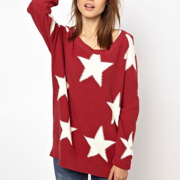 sweater european style cute sweet star knit sweater