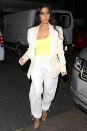 shoes,celebrity style,celebrity,suit,blazer,pants,bodysuit,kim kardashian,kardashians