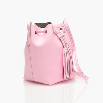 bag blush pink leather drawstring bucket bag tassel pink bag