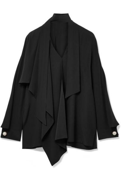 Fendi blouse pearl embellished black silk top