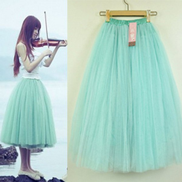 Stylish 5 Layers Tutu Petticoat Knee Length Length Long Skirt ...