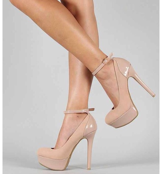 Shoes: nude, nude high heels, high heels, cream high heels, cute ...