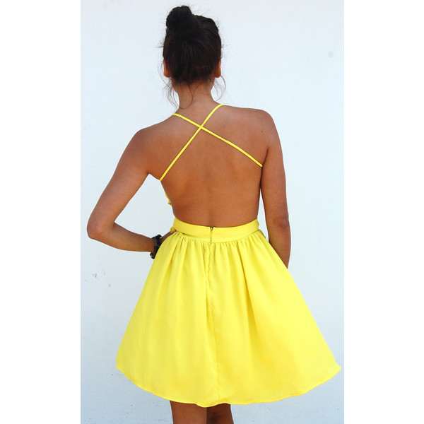 Neon Yellow Doll Dress - Polyvore