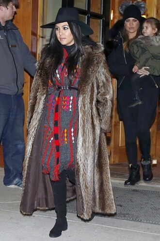 shoes boots kourtney kardashian dress hat fur coat