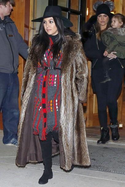 shoes boots kourtney kardashian dress hat fur coat coat