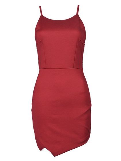 Bodycon cami dress with irregular hem