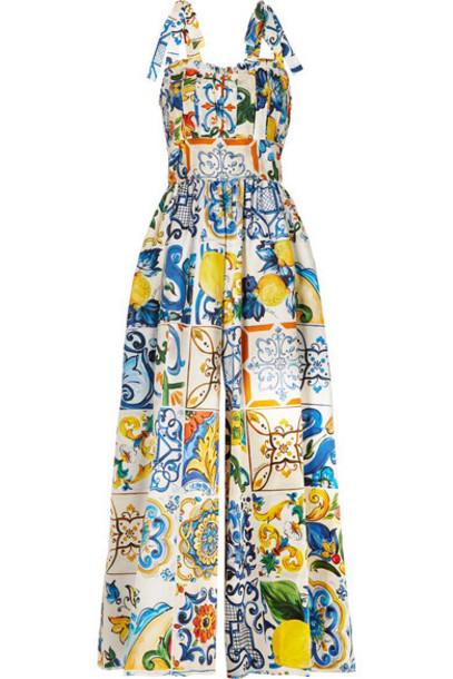 Dolce & Gabbana - Pleated Printed Cotton-poplin Jumpsuit - Blue