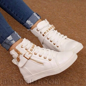 shoes white and gold sneakers high tops
