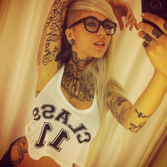 blonde girl white top tattoo class 11 loose rock