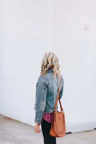 bag tumblr blonde hair brown bag brown leather bag leather bag denim denim jacket blue jacket shirt tartan jeans black jeans