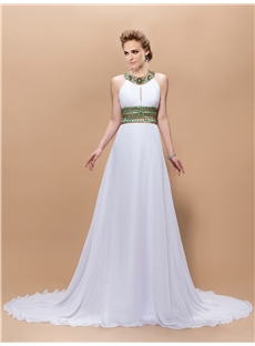 $ 137.09 Graceful A-Line Jewel Beading Floor-Length Court-Train Prom Dress