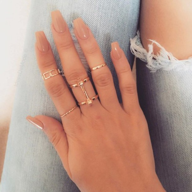 nail polish, natural, nails, beige, nude, gold, ring, jewels, all ...