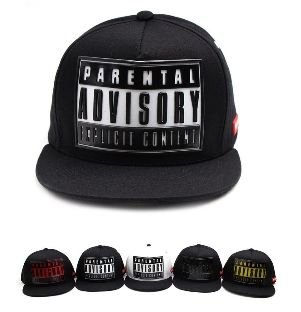bdaf1053cdfe8 Rubber Parental advisory explicit content snapback hat Hiphop baseball cap