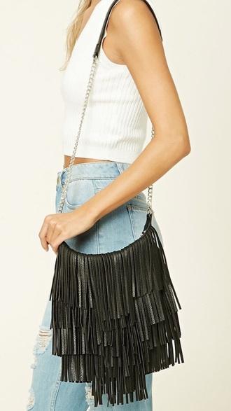 bag black fringe shoulder bag