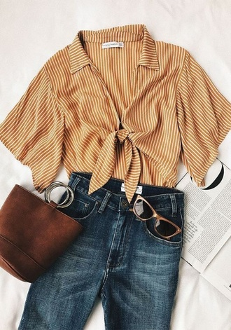 shirt yellow yellow top cotton stripes white