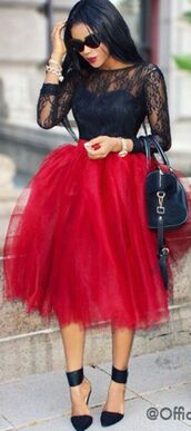 skirt,style,fashion,high heels,top,sunglasses,dress,red tulle dress,shirt,tulle skirt,lace,red,black,pumps