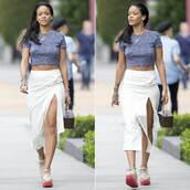 rihanna,crop tops,slit skirt,skirt,top,shoes