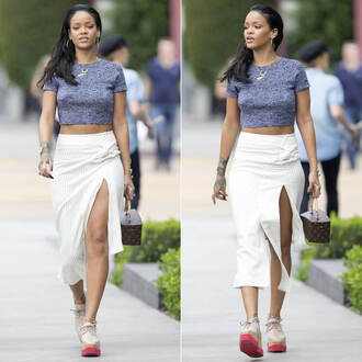 rihanna crop tops slit skirt skirt top shoes