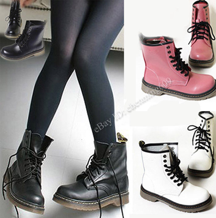 Women's Lace Up Mid Calf Martin Boots Combat Punk Ankle Boots Fashion Shoes | eBay