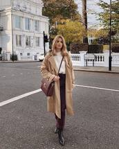 bag,crossbody bag,leather bag,coat,trench coat,ankle boots,pants,sweater,knitted sweater