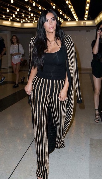 pants black icon kim kardashian blouse black heels beautiful style gold sequins glitter fashion lookbook kardashians kardashian kollection gold striped pants